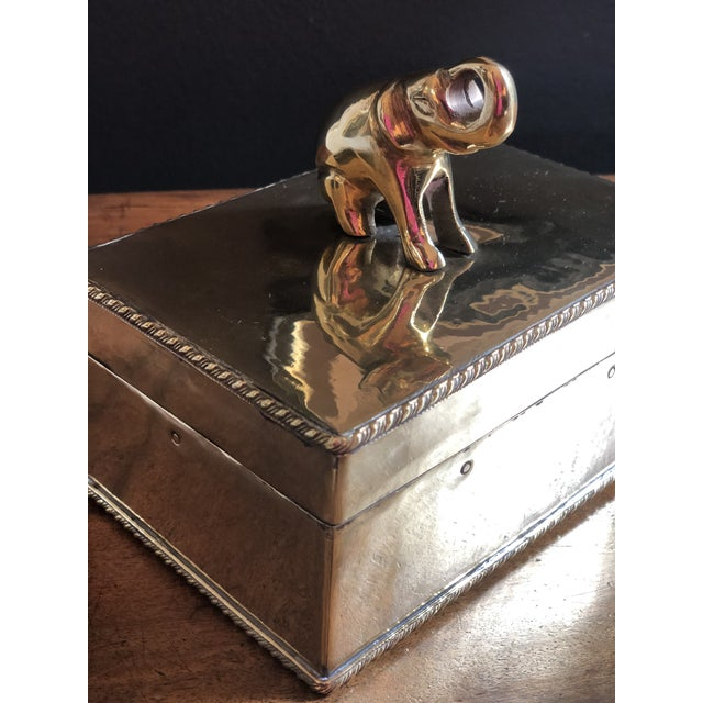 Brass Vintage Elephant Brass Box For Sale - Image 8 of 10