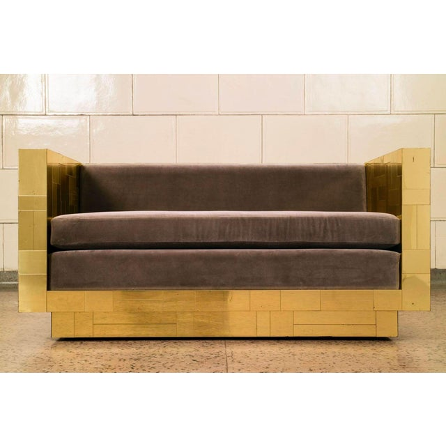 Gold Paul Evans Brass Settee For Sale - Image 8 of 10