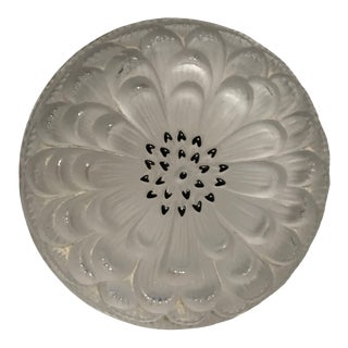 Mid 20th Century Lalique France Frosted Crystal Dahlia Dresser Box Jar For Sale