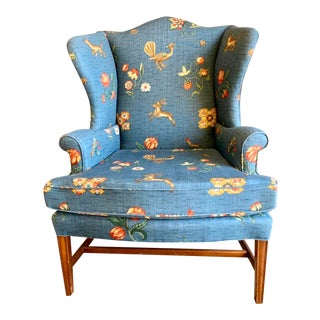 Baker Blue Floral Wingback Chair For Sale