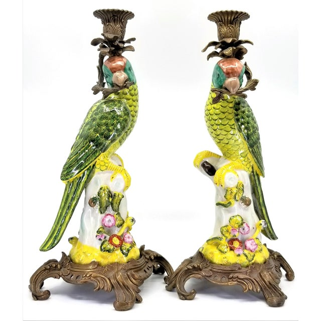 Large Parrot Candlesticks Candle Holders a - Pair - Vintage Porcelain Chinese Ceramic Birds - Tropical Coastal Mid Century Modern Boho Chic Palm Beach For Sale - Image 13 of 13