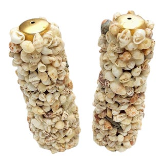 1950's Grotto Style Shell and Brass Salt and Pepper Shakers - a Pair For Sale