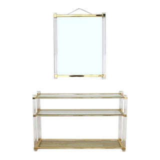 Mid-Century Modern Lucite and Brass Console Table and Matching Mirror - 2 Pieces For Sale