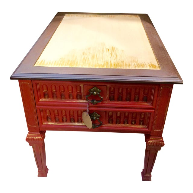 Vintage Coral Accent Table - Image 1 of 9