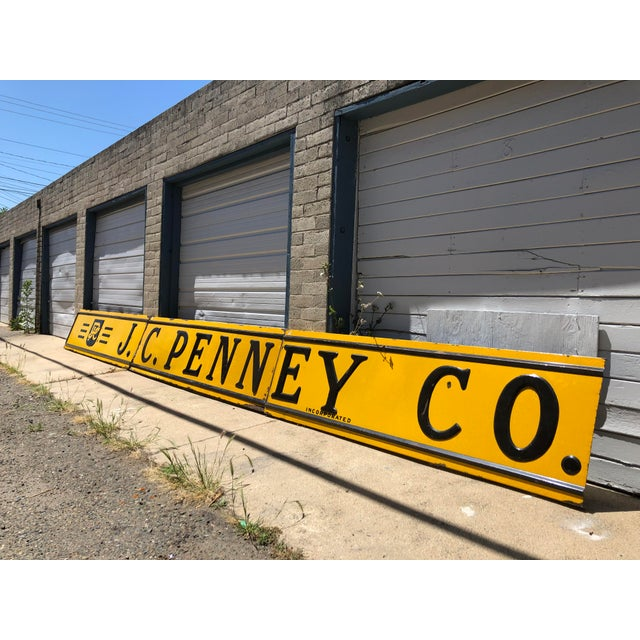 Americana 1920s Antique j.c. Penney Co. 3-Panel Baked Enamel Metal Sign For Sale - Image 3 of 10