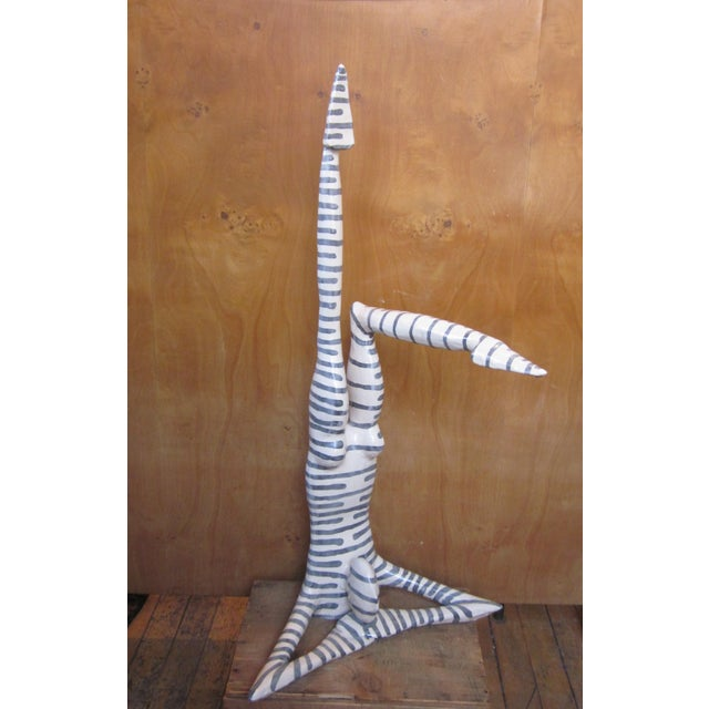 "Original Studio Art Postmodern Ceramic ""Acrobat"" Figural Blue Striped Biomorphic Form Sculpture by Jack Charney For Sale - Image 13 of 13"
