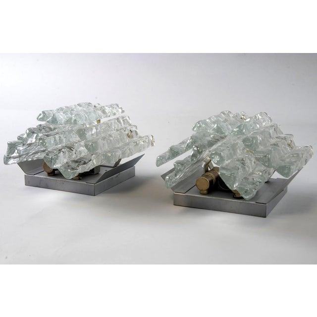 Mid-Century Modern Pair Kalmar Ice Glass Sconces Austria For Sale - Image 3 of 5