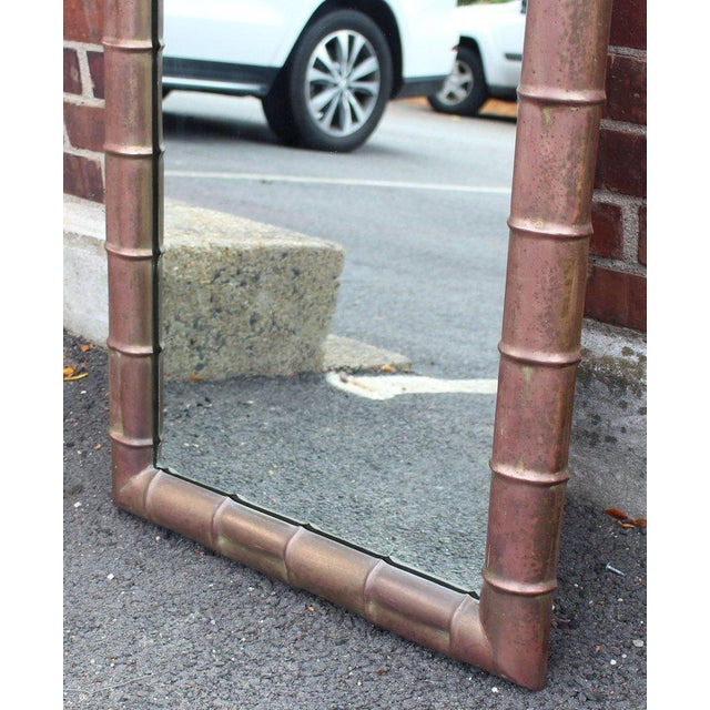 Mid-Century Modern Mid-Century Modern Faux Bamboo Weathered Copper Rectangular Mirror For Sale - Image 3 of 10