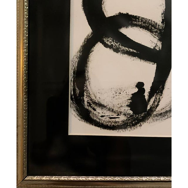 Abstract Contemporary Abstract Mid-Century Inspired Black and White Acrylic Painting, Framed For Sale - Image 3 of 3