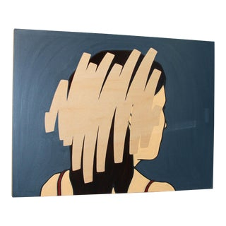 Jeffrey Palladini, Negation Scratch #6, Minimalist Female Portrait, Oil and Charcoal on Wood Panel, 2017 For Sale
