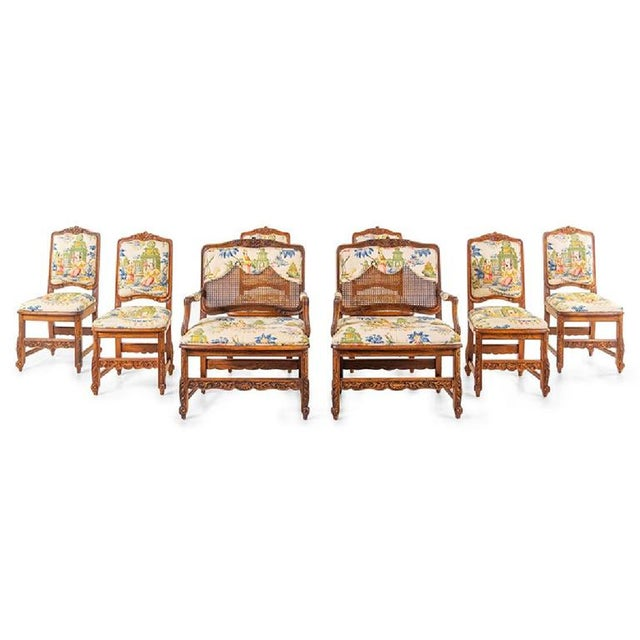 Large Set of Schumacher French Provincial Cane Wood Chinoiserie Upholstered Dining and Host Chairs by Interior Crafts - Set of 8 For Sale - Image 12 of 13