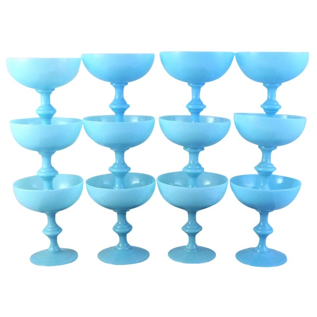 Vintage Portieux Vallerysthal French Blue Opaline Champagne Coupes - Set of 12 For Sale