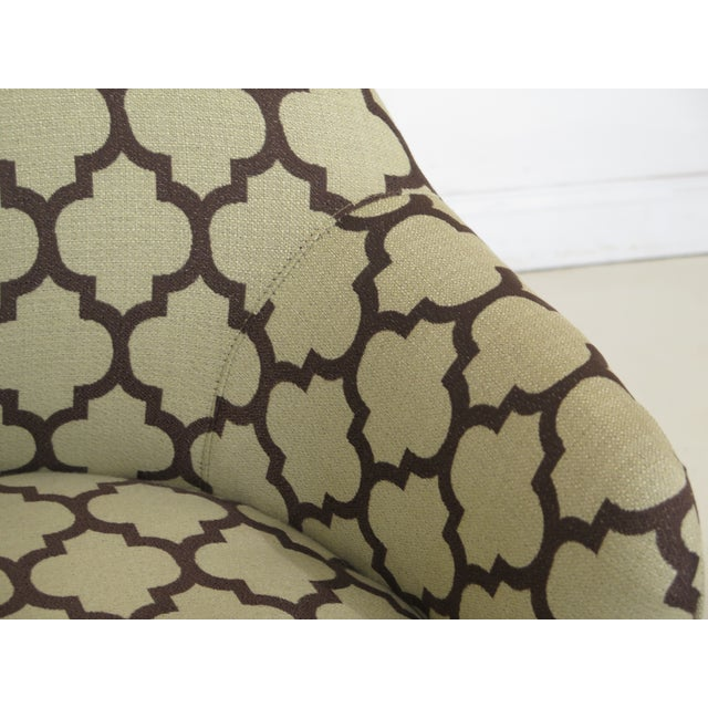 Green Modern Century Geometric Print Upholstered Club Chairs- A Pair For Sale - Image 8 of 12