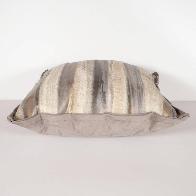 Gold Pair of Custom Modernist Horsehide and Ultra Suede Banded Pillows in Metallic Tones For Sale - Image 8 of 10