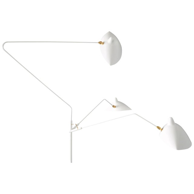 Standing Lamp With Three Arms in White by Serge Mouille For Sale