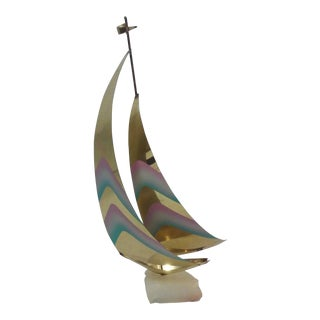 Jere Style Brass Sailboat Sculpture For Sale