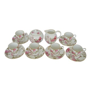 English Aynsley Demitasse Cups Saucers Cream Sugar Set - Set of 14 For Sale