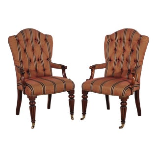 1990s Henredon Furniture Mahogany Upholstered Host & Hostess Dining Chairs - a Pair For Sale