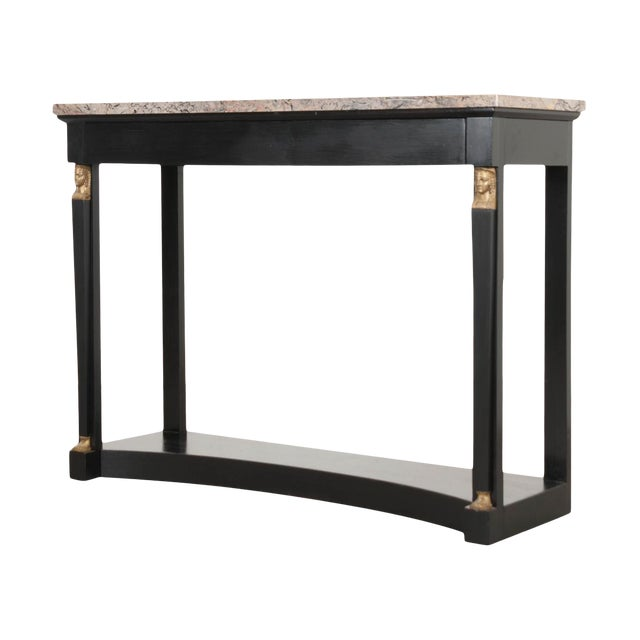 French 19th Century Empire Style Marble Top Ebonized Console For Sale