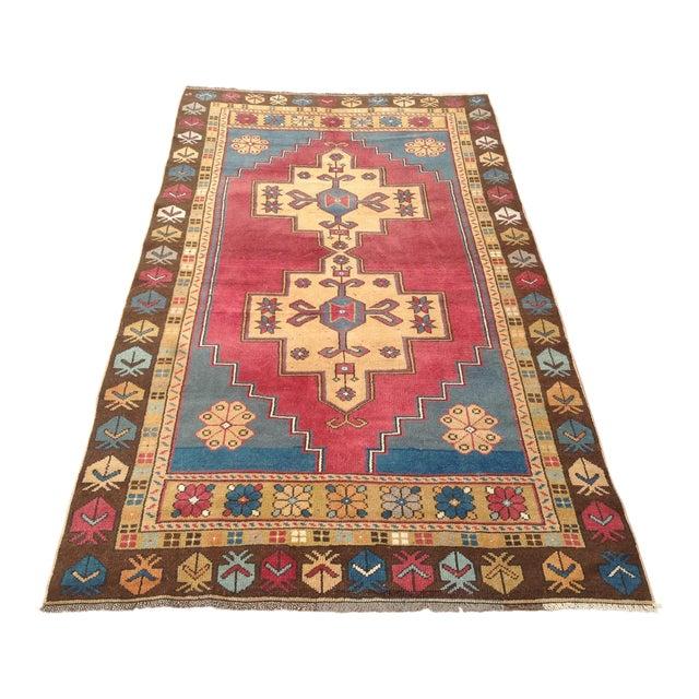 Vintage Anatolian Area Rug - 4′ × 7′7″ For Sale