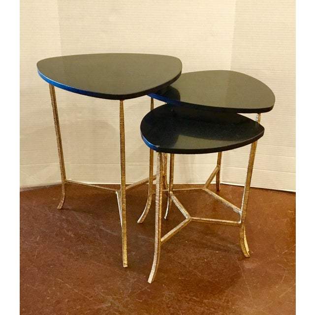 2010s Arteriors Modern Black and Gold Connor Nesting Tables Set of Three For Sale - Image 5 of 5