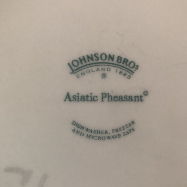 Art Nouveau Asiatic Pheasant Johnson Brothers Blue and White Plates - 4 Pieces For Sale - Image 3 of 11