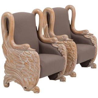 Pair of Italian 20th Century Carved Swan Armchairs by Sergio Longoni For Sale