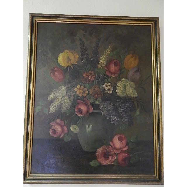 Still Life Flowers in a Vase, Signed H L Sanger For Sale - Image 4 of 4