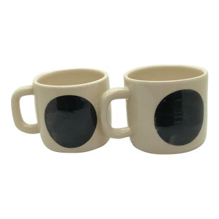Handmade Cream Colored Ceramic Mugs - a Pair