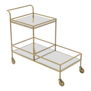 Jean Royère Serving Trolley Gilded Metal Mirrored Glass 1950 For Sale