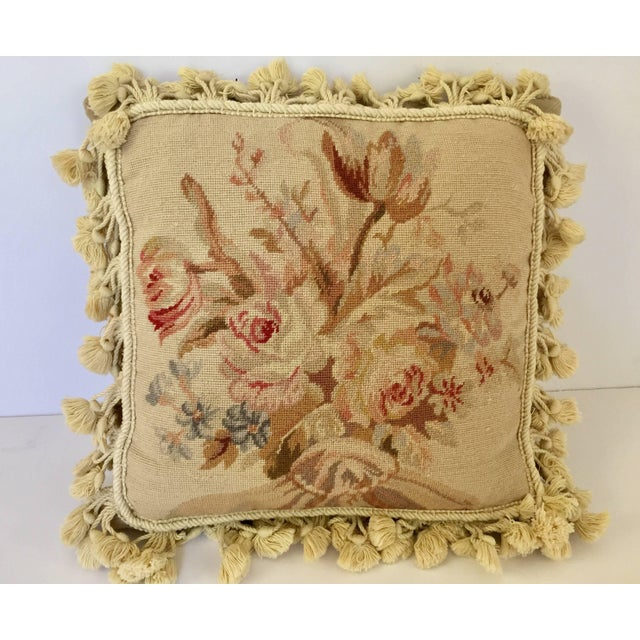 Mid 20th Century French Provincial Aubusson Style Throw Pillow For Sale - Image 5 of 9