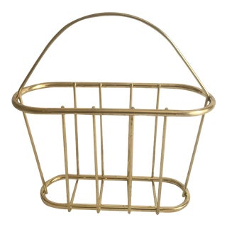 Vintage Hollywood Regency Mid Century Brass Plated Magazine Book Rack For Sale