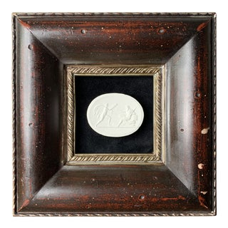 19th-Century Grand Tour Style Italian Plaster Cameo & Cherry Color Frame For Sale