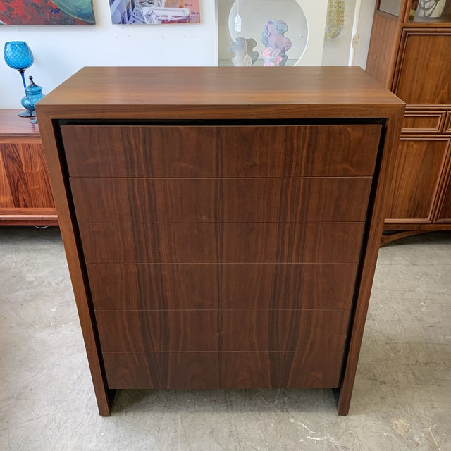 Beautiful walnut vintage tall dresser and matching nightstands designed by Arthur Umanoff for Dillingham furniture stamped...