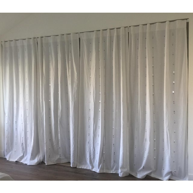 Embroidered Jewelry White Curtains - Set of 4 - Image 2 of 5