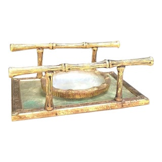 1950s Brass Bamboo Soap Dish and Tray - 2 Pieces For Sale