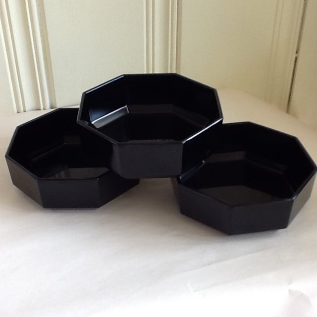 Black Ceramic French Bowls - Set of 3 - Image 3 of 10