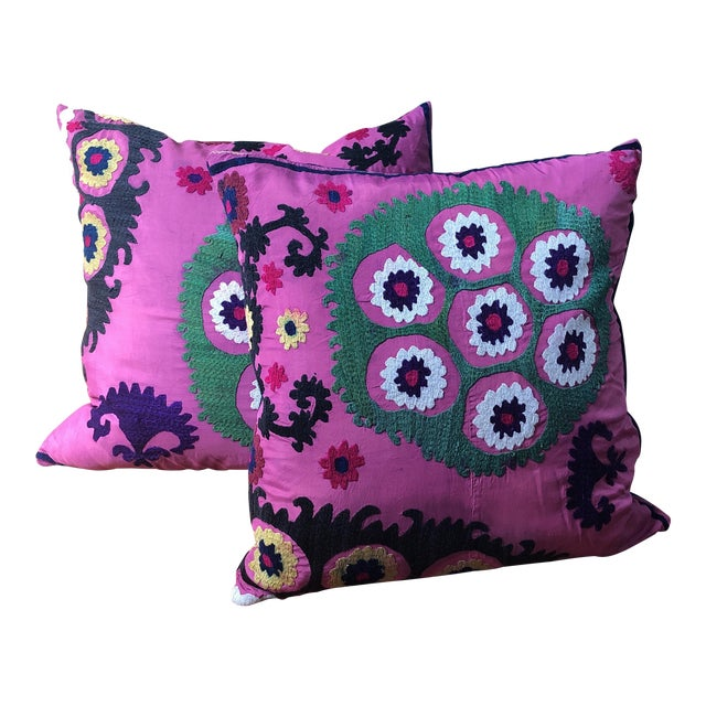 Turkish Suzani Pillows - A Pair For Sale
