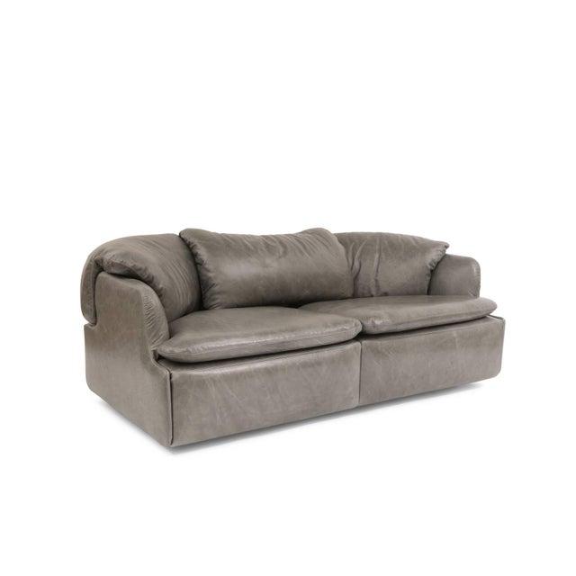 1970s 1970s Alberto Rosselli for Saporiti Leather Sofa For Sale - Image 5 of 8