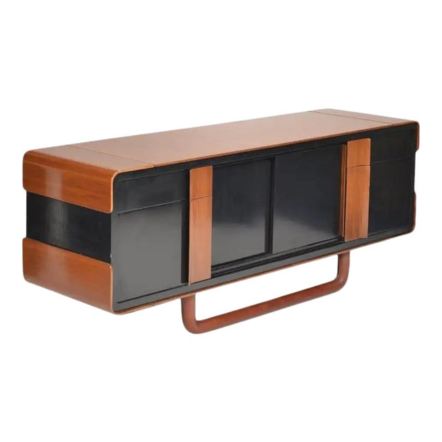 1980s Italian Modern Credenza With Leather Base For Sale