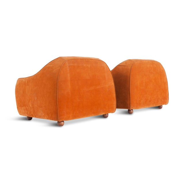 Mid-Century Modern Orange Suede Italian Easy Chairs For Sale - Image 4 of 9