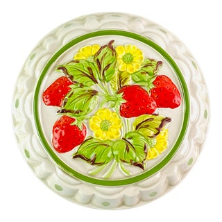 Vintage Painted Strawberry Cast Iron Pie Cover For Sale