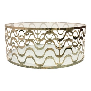 Caracole Modern Brass and Glass Making Waves Cocktail Table For Sale