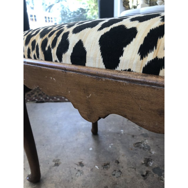Fabric 1910s Traditional Leopard Print Low Stool For Sale - Image 7 of 10