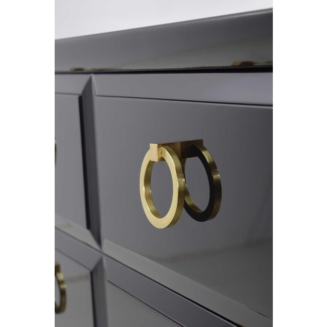 Mid-Century Modern Robsjohn-Gibbings for Widdicomb Chest of Drawers in Black Lacquer For Sale - Image 3 of 13