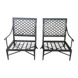 Image of Modern Patio Lounge Chairs - A Pair For Sale