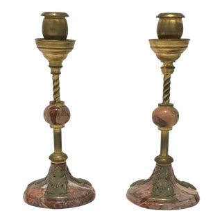 1920s Art Deco Antique Marble and Brass Candlesticks - a Pair For Sale