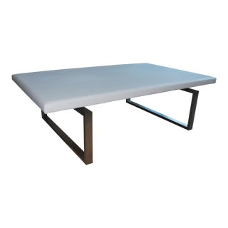 Modern White Vinyl Coffee Table For Sale