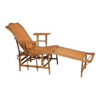 1920s French Style Wicker Chaise Lounge For Sale
