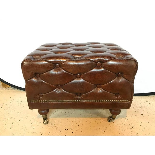 Leather Chesterfield Footstools - a Pair For Sale - Image 4 of 6